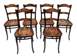 Thonet Vintage Chairs Antique Decorated Bentwood Dining Chairs From Thonet Set Of 6 For
