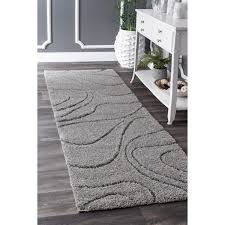 Plush Runner Rugs Nuloom Soft And Plush Luxurious Grey Shag Runner Rug
