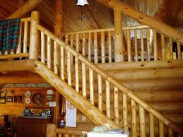 log stairs and railings in heartwood log homes