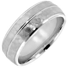 mens hammered wedding bands hammered design mens wedding band in 14kt white gold