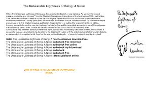 the incredible lightness of being the unbearable lightness of being a novel download 30 day trial audi