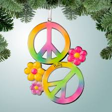 theme ornaments two colorful peace signs with flowers personalized