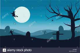 vector halloween silhouette of witch flying in tomb vector halloween stock vector