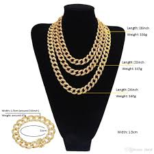 colored chain link necklace images Hip hop men jewelry set two tone gold color trendy 15mm chunky big jpg
