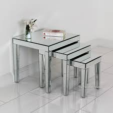 buy nest of tables mirrored nest of 3 tables amazon co uk kitchen home