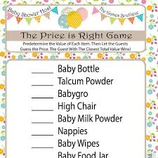 price is right baby shower bbay shower the price is right