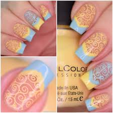 nail art yellow and blue whencolorscollide polish and paws