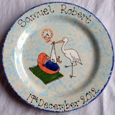 birth plates newborn stork plate christening new birth plates baby keepsakes