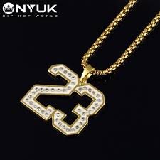 aliexpress buy nyuk mens 39 hip hop jewelry iced out nyuk number 23 pendant necklace tide brand hip hop soft pottery
