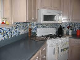 bijou blue and green kitchen backsplash with glass mosaic tiles