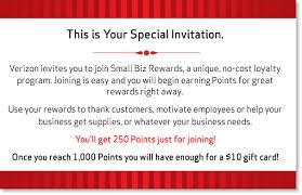 Gift Card Programs For Small Business Verizon Small Biz Rewards Q2 Invitation