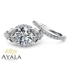 unique wedding ring 2 carat moissanite wedding ring set in 14k white gold unique
