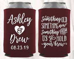 wedding koozie ideas wedding koozies etsy