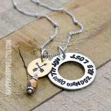 Hand Stamped Necklace Hand Stamped Necklace Not All Who Wander Are Lost Happy Hour