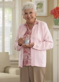 elderly woman clothes cardigan sweater without pockets buck buck