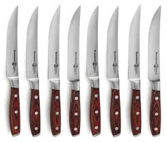 messermeister avanta forged steak knife set with pakkawood handles