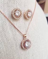 gold crystal bridal necklace images Rose gold jewelry set silver cz set rose gold wedding necklace jpg