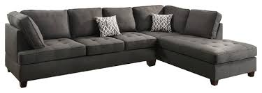 Charcoal Gray Sectional Sofa Chaise Lounge Modern Contemporary Sectional Sofa With Reversible Chaise