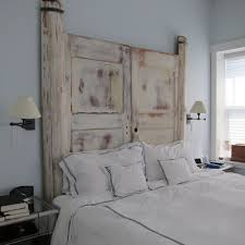 bedroom rustic wood headboard design idea for unique bedding