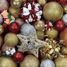 gold red silver christmas decorations stock photo picture and