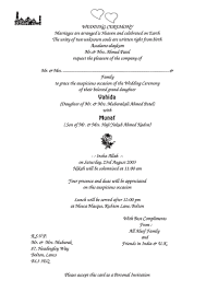 Wording For A Wedding Card Muslim Invitation Wording