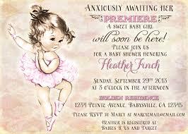 vintage baby shower invitations vintage ballerina baby shower invitation for girl ballet