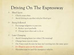 Driving Blind Spot Check Driving On Expressways Ppt Download