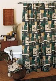 Rustic Curtains And Drapes Black Lab Curtains For Lodge Or Cabin Dogs U0026 Ducks Shower