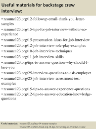Driller Resume Example by Top 8 Backstage Crew Resume Samples