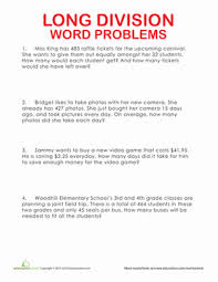 long division word problems worksheet education com
