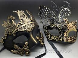 venetian carnival masks gold black laser cut metal butterfly and rome warrior