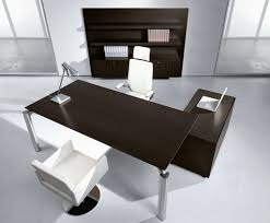 Modern Office Table With Glass Top Black Glass Computer Desk On White Ceramic Floor Tile Closed To