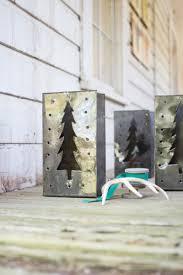 set of 6 tin tree luminaries