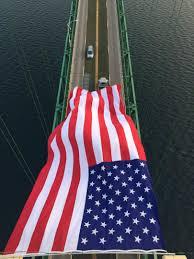 911 Flag Photo American Flag Flies Over Mackinac Bridge To Commemorate 9 11