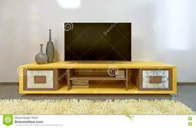 Tv Table Interior Design Bright Yellow Tv Unit In Modern Living Room Stock Illustration
