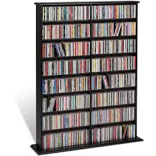 Cd And Dvd Storage Cabinet With Doors Oak Finish Prepac Double Media Tower Walmart Com