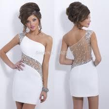 vestido curto festa 2015 sparkle beaded one shoulder white chiffon