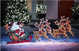 lighted outdoor santa sleigh and reindeer chic outdoor