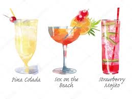 watercolor cocktail cocktail satz u2014 stockvektor 63652413