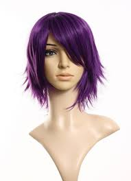 1pc anime short purple haircut women curly wave cosplay wig heat