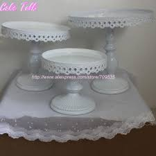 set of 3 white wedding cake stand party decorator cupcake plate