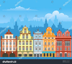 street houses different architectural styles colors stock vector