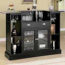 bar cabinets for home glossy black bar cabinet with glass doors and shelves plus drawer