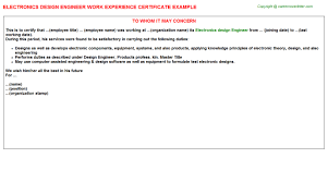 electronics design engineer work experience certificate