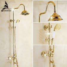 Free Shipping Wholesale And Retail Luxury Gold Brass Shower Faucet Bathroom Fixtures Wholesale