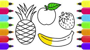 fruits coloring pages how to draw apple banana strawberry and