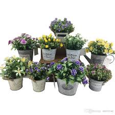 mini artificial plants with metal plate pots table flower white