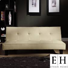 Overstock Sofa Bed Ethan Home Bento Beige Faux Leather Mini Futon Sofa Bed
