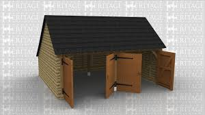 traditional two bay oak framed garages made entirely with green oak