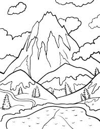 nature scene coloring pages printable mountain coloring page free pdf download at http
